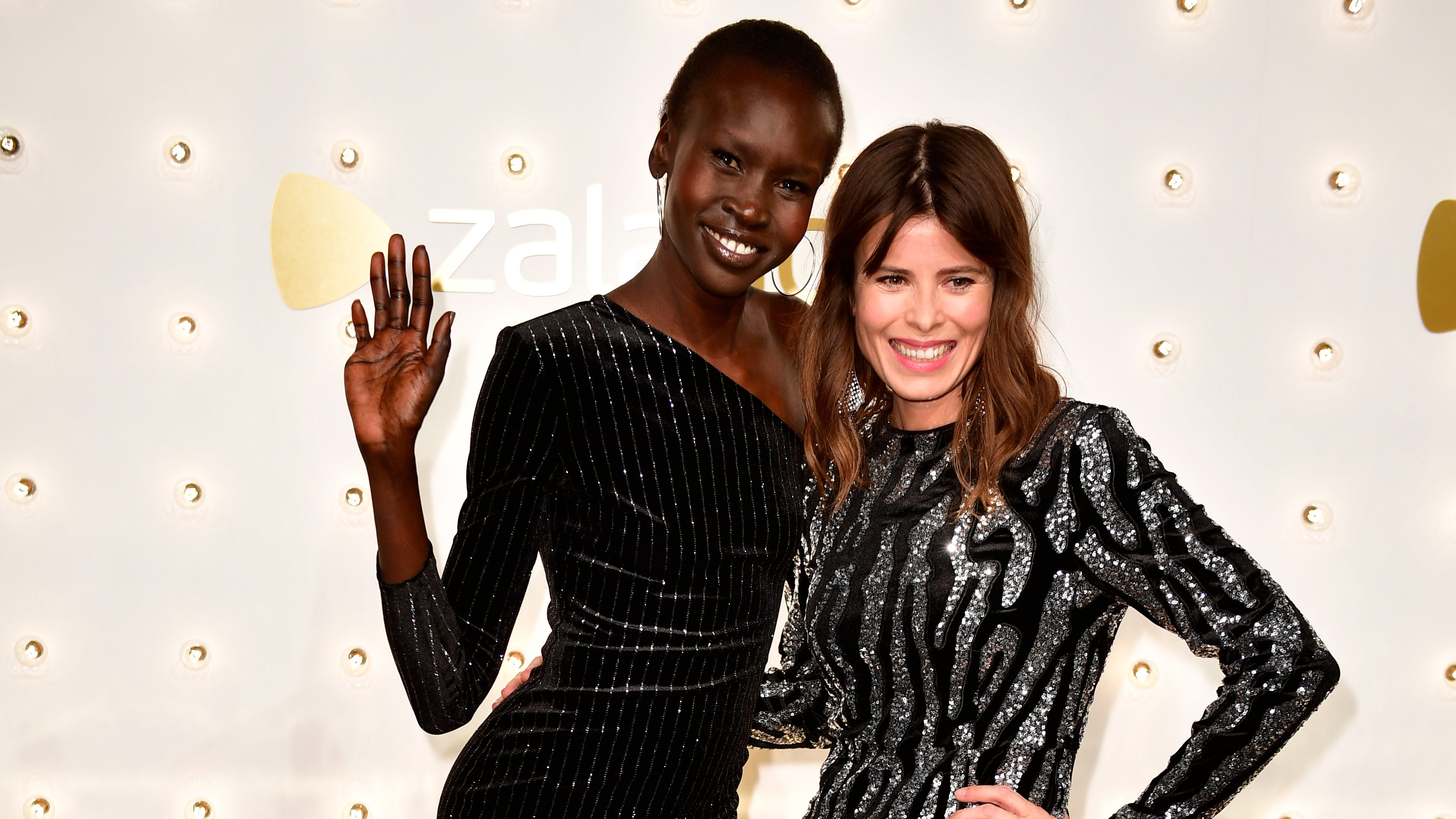 BERLIN, GERMANY - DECEMBER 13: (L-R) Alek Wek and Jolanda Smit attend the Zalando xmas bash hosted by Alek Wek at Haus Ungarn on December 13, 2017 in Berlin, Germany. (Photo by Alexander Koerner/Getty Images for Zalando)